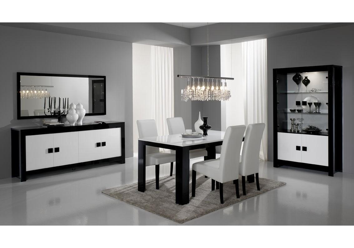Table CHESS 6/8 places laqué noir/blanc - Séjour