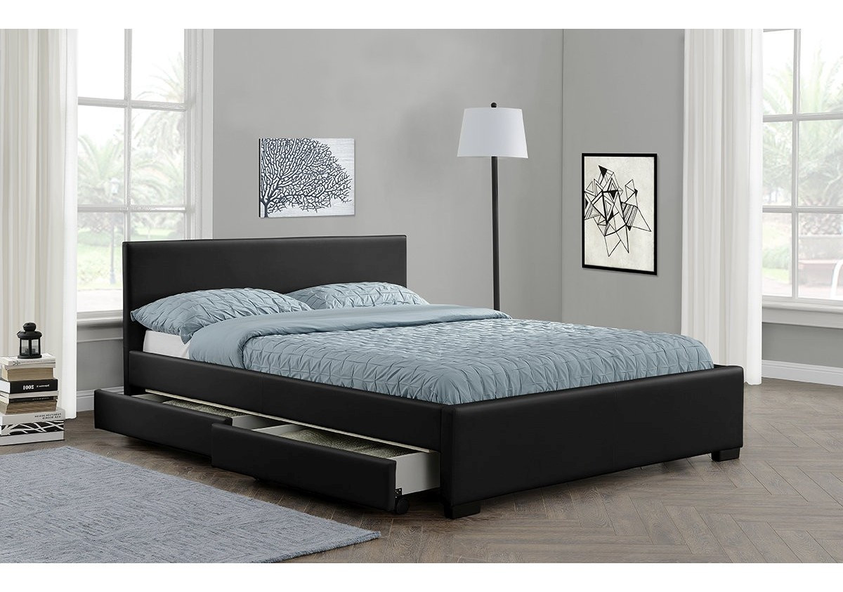 lit avec tiroirs 140x190 dream pu noir lits 2 personnes. Black Bedroom Furniture Sets. Home Design Ideas