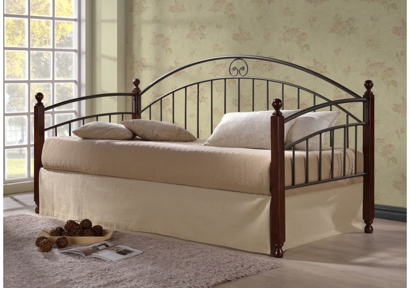 banquette lit 90x190 diana noir merisier. Black Bedroom Furniture Sets. Home Design Ideas