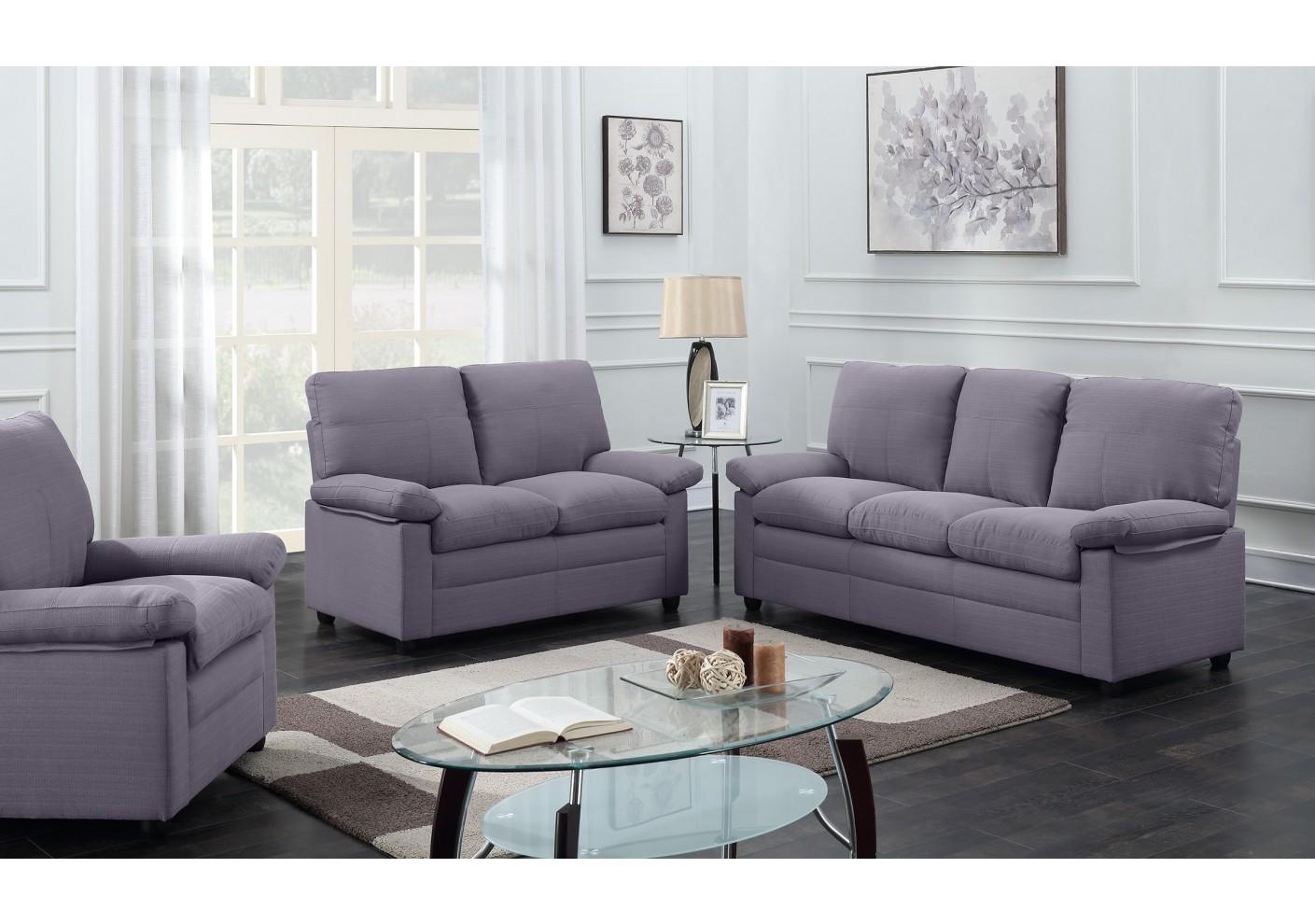 salon 3 pi ces chicago tissu gris fonc 1 canap 3 places 1 canap 2 places 1 fauteuil 1. Black Bedroom Furniture Sets. Home Design Ideas