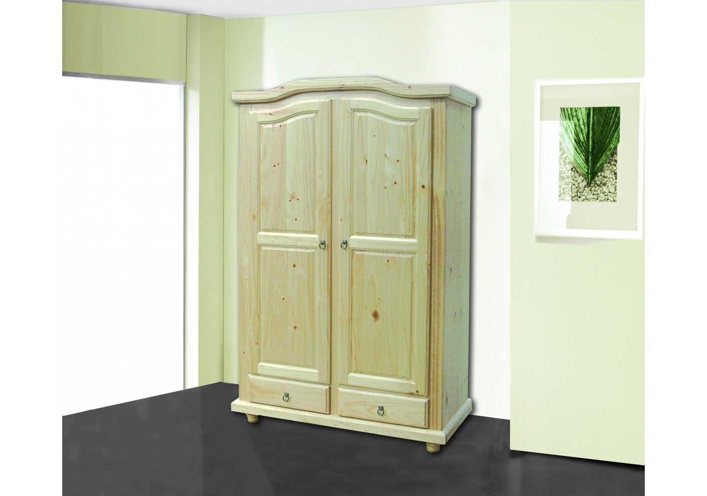 armoire 2 portes 2 tiroirs neuilly en pin massif vernis. Black Bedroom Furniture Sets. Home Design Ideas