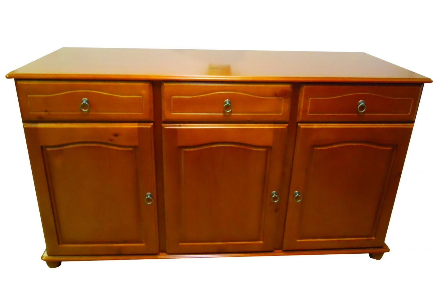 Buffet bas 3 portes/3 tiroirs NEUILLY en hévéa teinté merisier ...