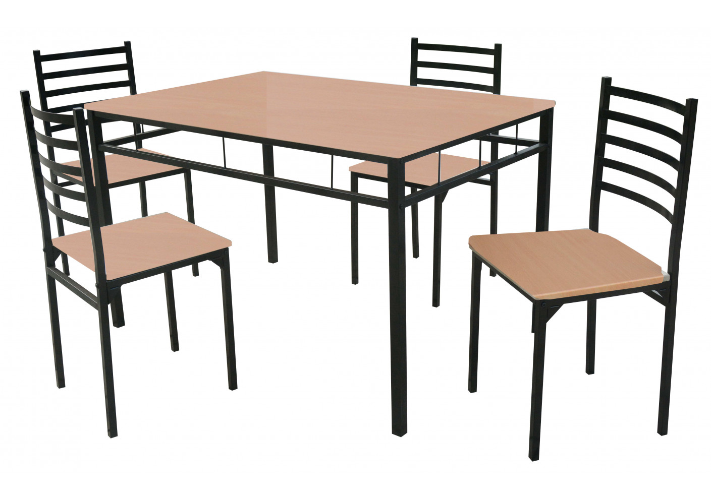 Ensemble 1 table + 4 chaises SQUARE hêtre/noir - Ensembles tables + ...