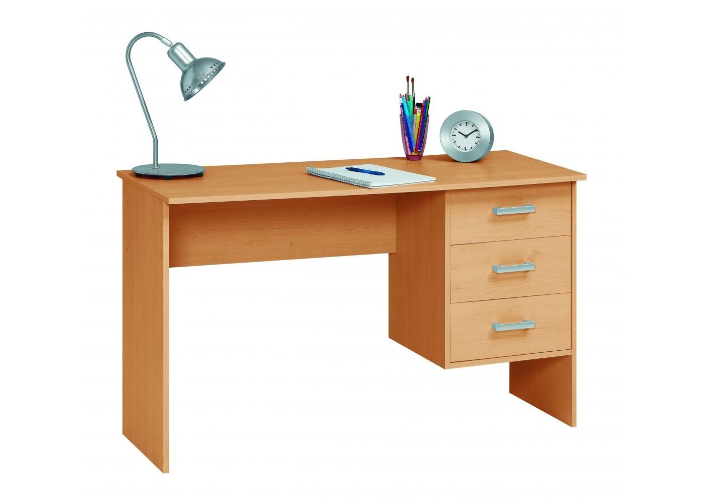 bureau 3 tiroirs charley h tre naturel bureaux caissons bureau. Black Bedroom Furniture Sets. Home Design Ideas