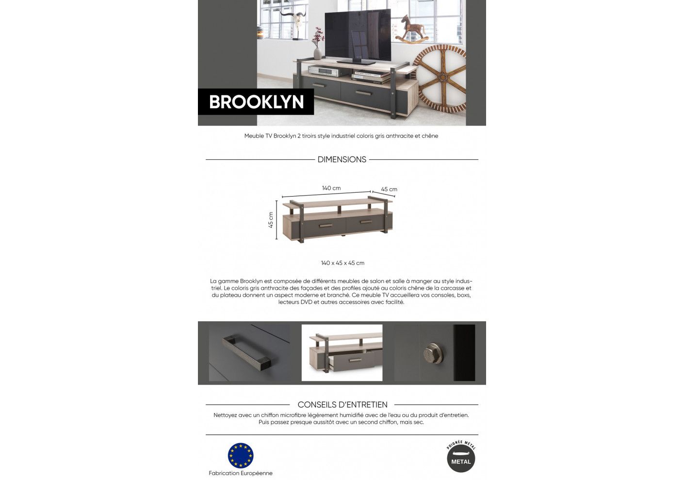 180602470 Meuble TV BROOKLYN anthracite/chêne sorrento. Code Article Magasin : 898946  ...