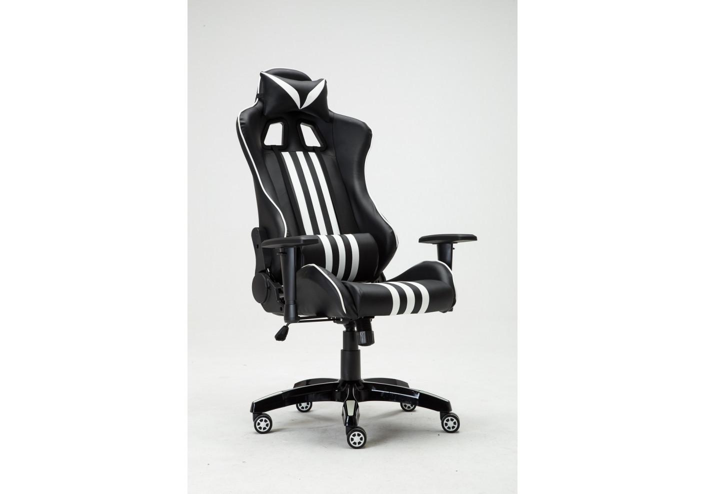 Fauteuil de direction gamer miami noir et blanc sièges de bureau