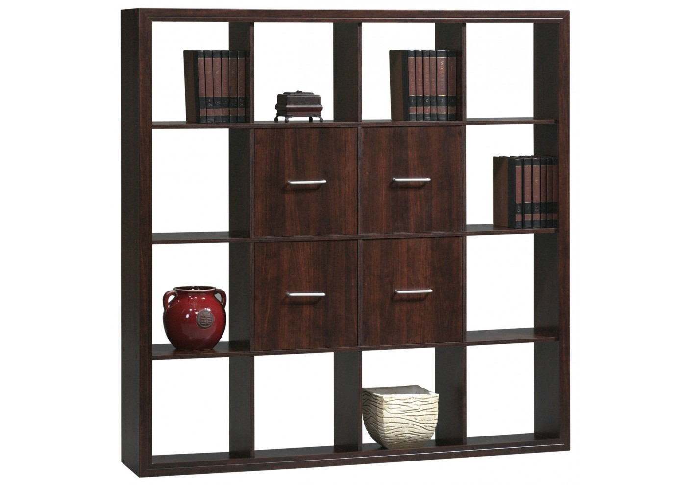 biblioth que 12 cases 4 portes style weng rangement. Black Bedroom Furniture Sets. Home Design Ideas