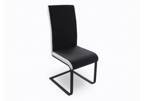 Chaise GALIA PVC noir/blanc