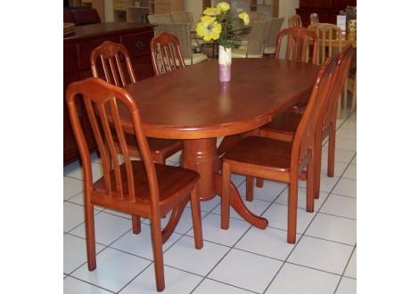 Ensemble Table + 6 chaises FLORA en bois massif (hévéa) teinté merisier