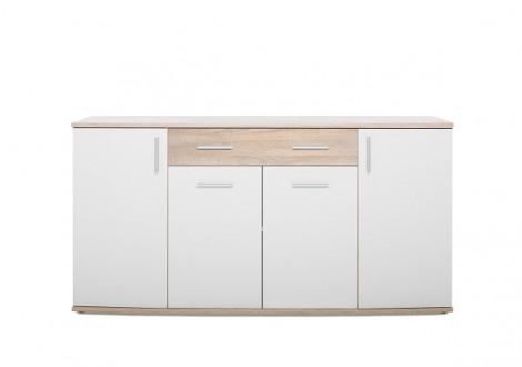Buffet bas 4 portes/2 tiroirs RONDO chêne/blanc