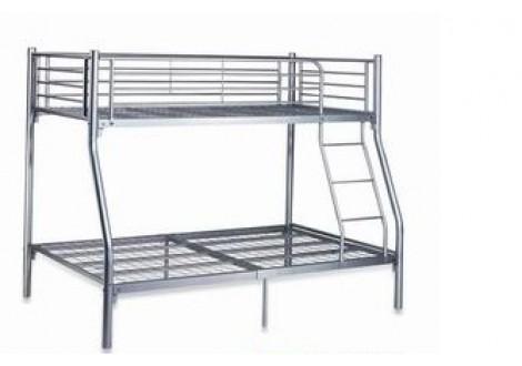 Lit superpos metro gris argent 90 140 x 190 cm promotions - Lit superpose 140 x 190 ...
