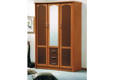 Armoire 3 portes/3 tiroirs/1 miroir LAGON merisier