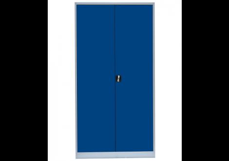 Vestiaire métallique multi-fonctions 2 portes gris clair/bleu roi (VD-2M)