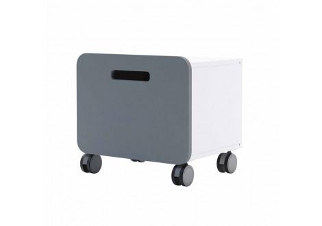 Chevet 1 tiroir sur roulettes FILOU blanc mat/gris foncé