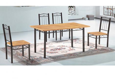 Ensemble Table + 4 chaises ARYA  noir/chêne
