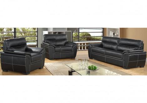 Salon 3 pièces ALAMBRA PU noir: 1 canapé 3 places + 2 fauteuils 1 place