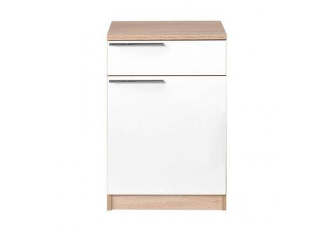 Chevet 1 porte/1 tiroir ALPHA chêne/blanc
