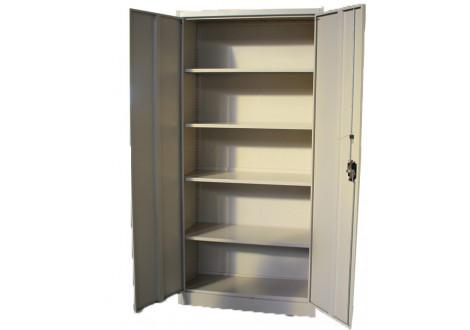 Armoire haute 2 portes 100 cm gris clair métallique