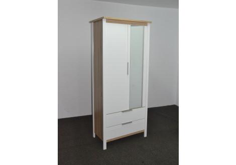 Armoire 2 portes/2 tiroirs + miroir KENT chêne clair/blanc