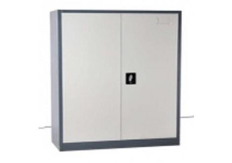Armoire basse métallique 2 portes gris clair (largeur 100 cm)