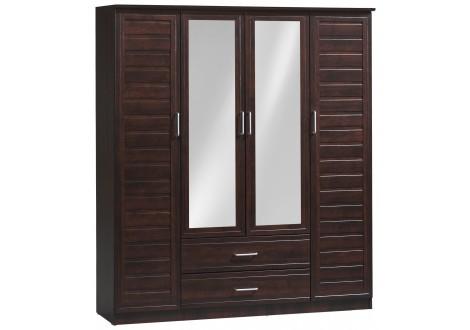 Armoire 4 portes/2 tiroirs MIRANDA noyer