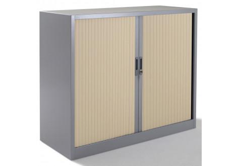 Armoire métal basse à rideaux L120 H100 cm coloris gris/portes chêne