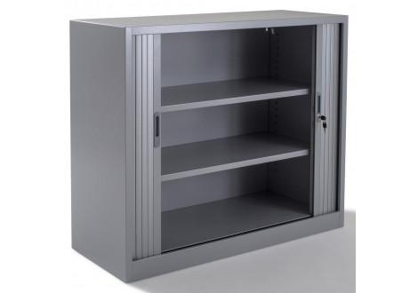Armoire métal basse à rideaux L100 H100 cm coloris gris
