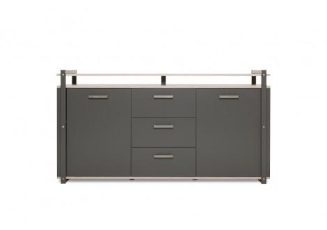 Buffet bas 2 portes/3 tiroirs BROOKLYN anthracite/chêne sorrento