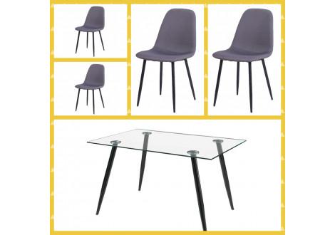 Ensemble table + 4 chaises BELLA tissu gris/verre transparent
