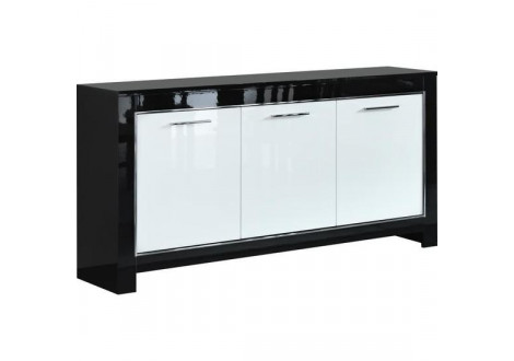 Buffet bas 3 portes CHESS laqué blanc/noir