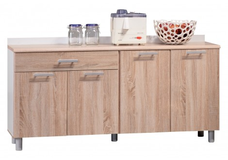 Buffet bas 4 portes/1 tiroir PHOENIX chêne/blanc