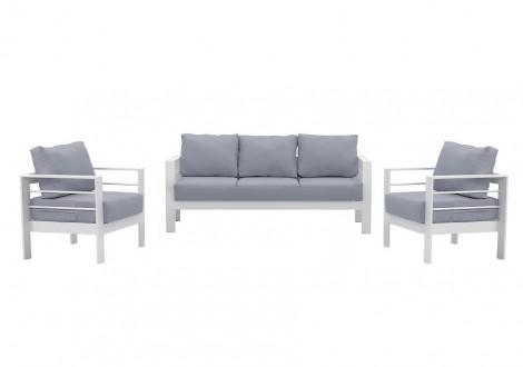 Ensemble de salon de jardin 3 pièces PATIO alu blanc tissu gris clair