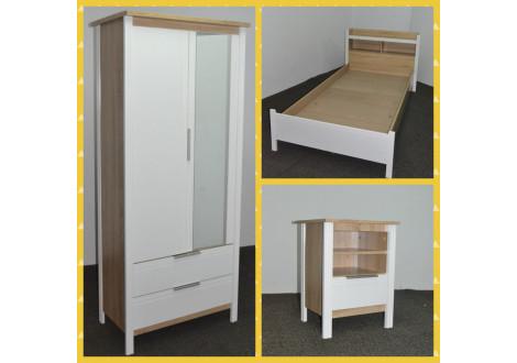 Chambre 3 Pièces KENT chêne clair/blanc