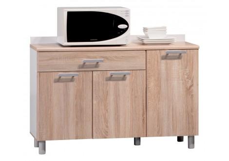 Buffet bas 3 portes/1 tiroir CITTY Chêne/blanc