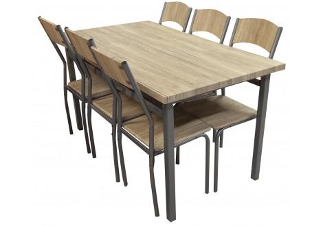 Ensemble Table + 6 chaises SANSA alu/Chêne