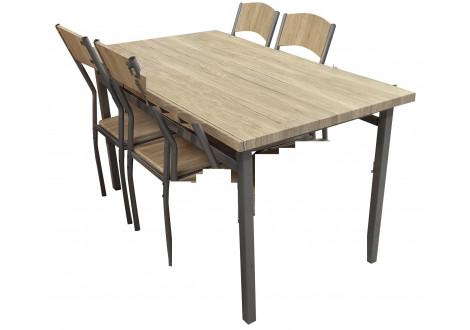 Ensemble Table + 4 chaises SANSA alu/chêne