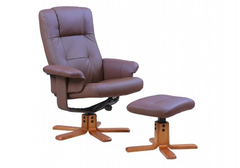Fauteuil relax+repose-pieds NEW YORK PU marron clair