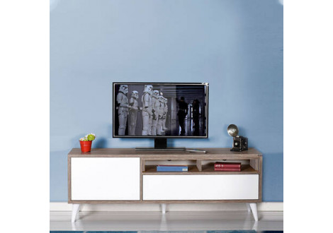 Meuble TV RETRO Chêne/Blanc