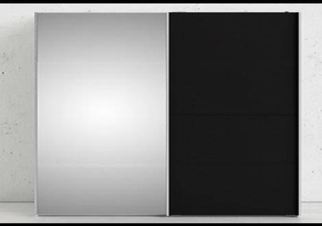 Armoire 180 GALA 2 portes coulissantes noir laqué/miroir