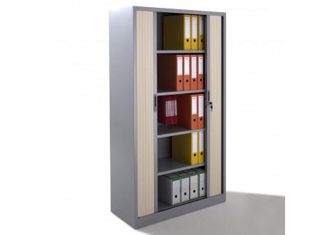 Armoire métallique 2 portes à rideau BDX H1912 Argent/Portes hêtre