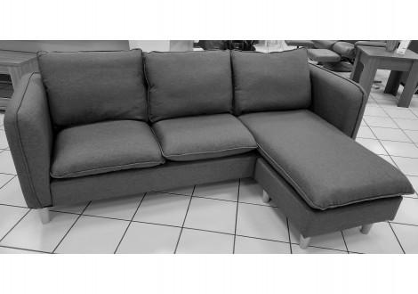 Canapé d'angle réversible JULES tissu gris