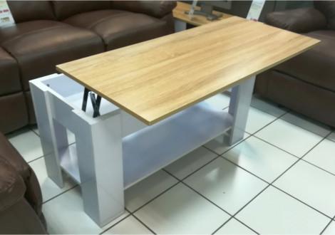 Table basse relevable avec porte-revues intégré LIFT blanc/plateau chêne