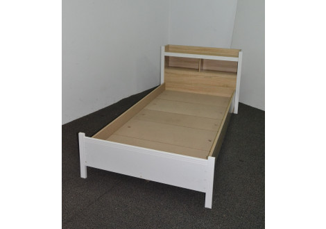 Lit 90x190cm KENT chêne clair/blanc