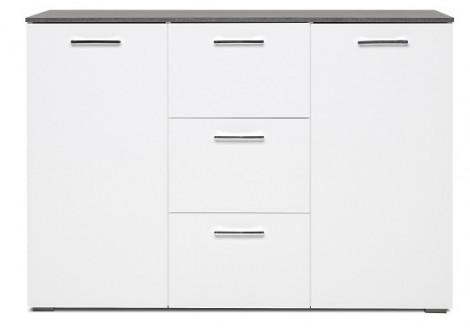 Buffet bas 2 portes/3 tiroirs MAGIC béton foncé/blanc