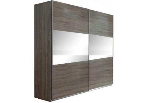 Armoire 2 portes coulissantes 180 MALAGA chêne hiver/miroir