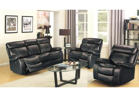 Ensemble de salon 3 pièces MAX simili cuir noir