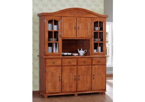 Buffet vaisselier  8 portes/4 tiroirs DUBAI en bois massif teinté merisier