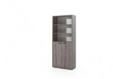 Armoire Haute 2 portes + étagères Chêne Grisé