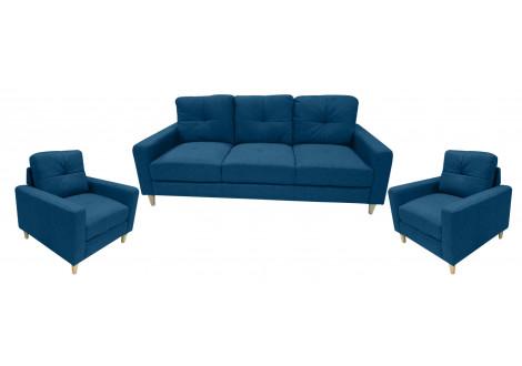 Salon 3 pièces JESSIE tissu lin bleu