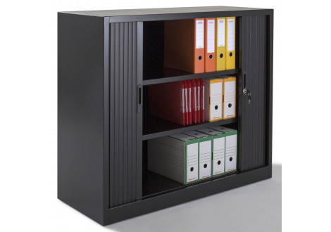 Armoire métal basse à rideaux L100 H100 cm coloris noir